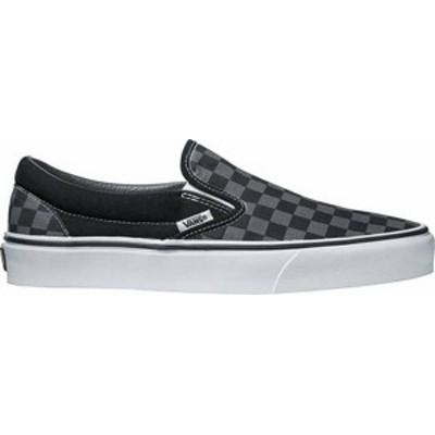 バンズ メンズ スニーカー シューズ Vans Classic Slip-On Checkerboard Shoes Black/Pewter