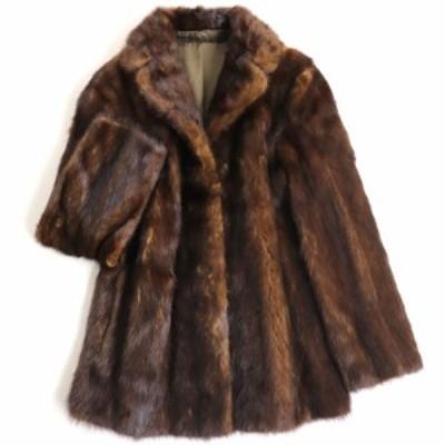 毛並み極美品▼MINK ミンク 本毛皮コート ブラウン 毛質艶やか・柔らか◎