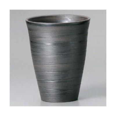 カップ 黒土線彫フリーカップ(大) 美濃焼 高さ125mm×口径:98/業務用/新品
