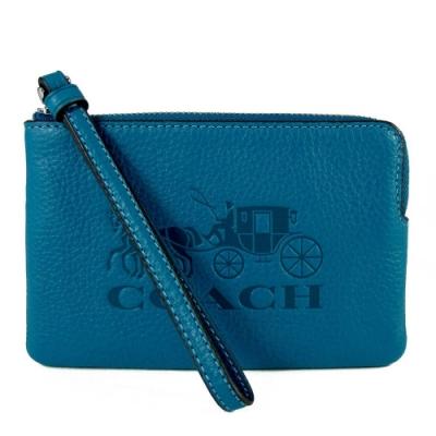COACH 壓印大馬車Logo荔枝紋皮革手拿包(靛藍色)