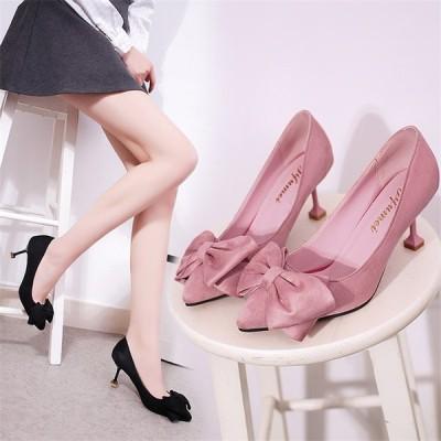 レディース パンプス ハイヒール ピンヒール ポインテッドトゥ OL リボン パーティー フォーマル 女子靴