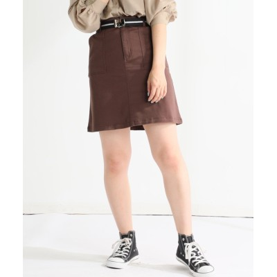 (Honeys/ハニーズ)ベルト付台形スカート/レディース ブラウン