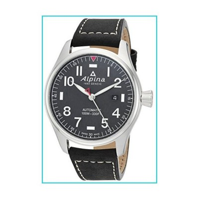 Alpina メンズ スタータイマー ステンレススチール スイス自動腕時計 レザーストラップ付き ブラック 21 (