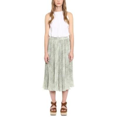 マイケルコース スカート ボトムス レディース Pleated Printed Midi Skirt Army Green