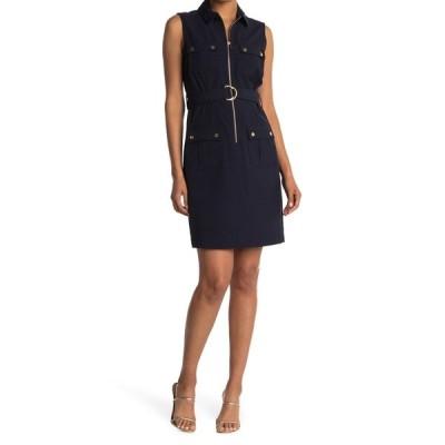 シャラガノ レディース ワンピース トップス Sleeveless Belted Zip Front Dress DEEP NAVY