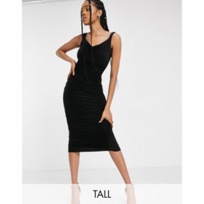 クラブ エル Club L London Tall レディース ワンピース ミドル丈 ワンピース・ドレス Off Shoulder Ruched Detail Midi Dress In Black