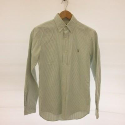 【中古】ラルフローレン RALPH LAUREN シャツ 長袖 ボタンダウン ストライプ 白 緑 XS *E683 メンズ