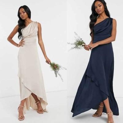 エイソス ドレス ラップスカート メイド スカート ハイウエスト ASOS / TFNC ブライドメイドワンショルダーマキシドレス