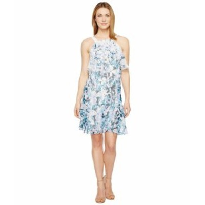 Adrianna Papell アドリアナパぺル ドレス 一般 Floral Cascade Printed Chiffon Tiered Sleeveless Shift Dress