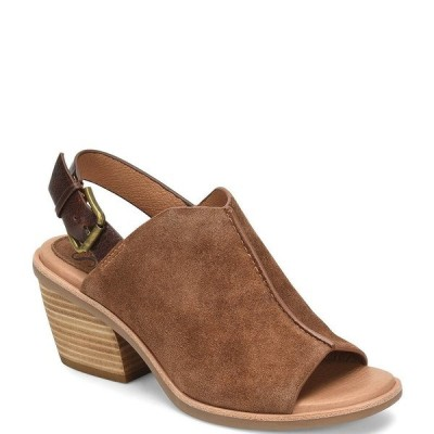 ソフト レディース サンダル シューズ Pelonia Suede Leather Slingback Stacked Heel Sandals Light Brown