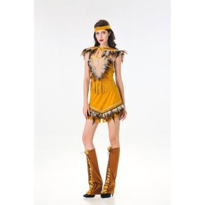 ハロウィーンHalloween ハロウィン万聖節レディースパーティー用仮装クリスマス演出服コスチュームコスプレクレインディアン 風ダンス服アフリカ人 原始人