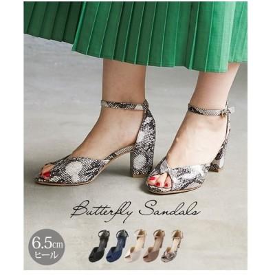 サンダル レディース バタフライ デザイン 靴 22.0〜22.5/23.0〜23.5/23.5〜24.0/24.0〜24.5cm ニッセン