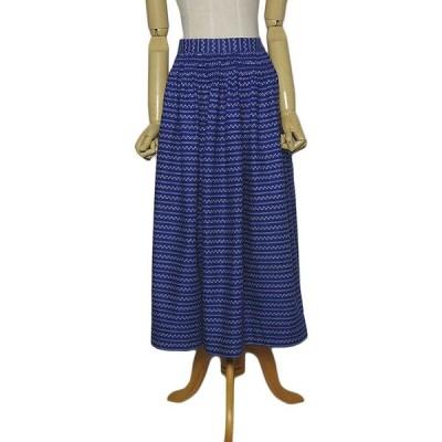 小花柄 チロル カントリー スカート ハンドメイド レディース w70.5cm 民族衣装 古着 青色系