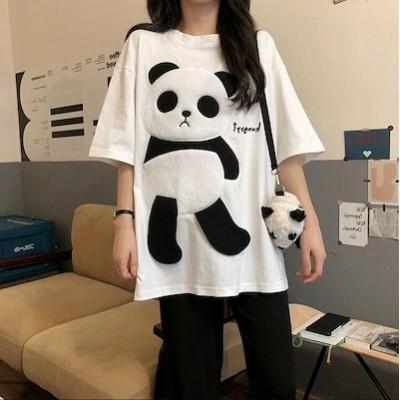 Tシャツ 半袖Tシャツ トップス レディース パンダ シャツ 無地 ゆったり お洒落 可愛い 薄手 白 黒 カジュアル おしゃれ シンプル