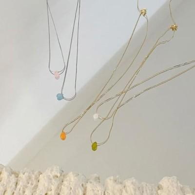 BANHARU レディース ネックレス 5-color minimalist gemstone necklace