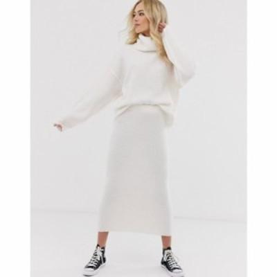 エイソス ASOS DESIGN レディース ひざ丈スカート スカート chunky ribbed midi skirt in recycled blend クリーム