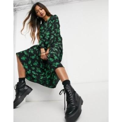 エイソス レディース ワンピース トップス ASOS DESIGN long sleeve tiered smock midi dress in black floral print Black / green flor