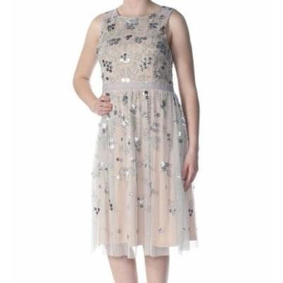 Adrianna Papell アドリアーナ パペル ファッション ドレス Adrianna Papell Womens Dress Beige Size 8 Sheath Beaded Mesh Floral