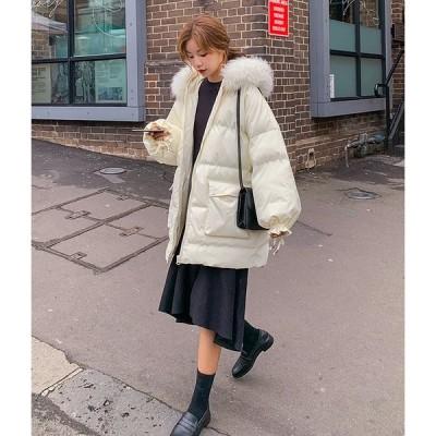 ダウンコート ダウンジャケット 中綿コート 中綿ジャケット アウター ファーフード付き ゆったり オーバーサイズ ゆるふわ 膝上丈 無地 3色 シンプル 暖かい 防
