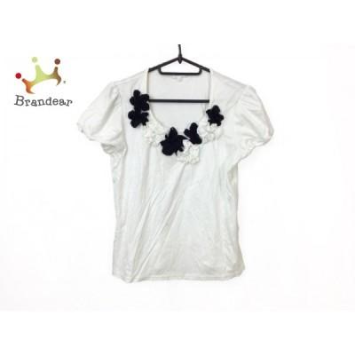 トゥービーシック 半袖カットソー サイズ2 M レディース - 白×黒 クルーネック/フラワー(花) 新着 20200917