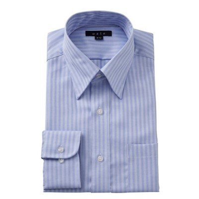 スナップダウン ワイシャツ メンズ 長袖 スリム ブルー 青 綿100% 形態安定 プレミアムコットン ドレスシャツ 無地 おしゃれ 大きいサイズ