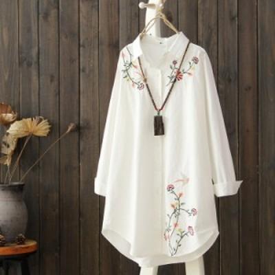 刺繍 レディース ロングシャツ 刺繍シャツ シャツブラウス ロングシャツ 薄手シャツ 長袖 花柄刺繍 ゆるシャツ カジュアルシャツ