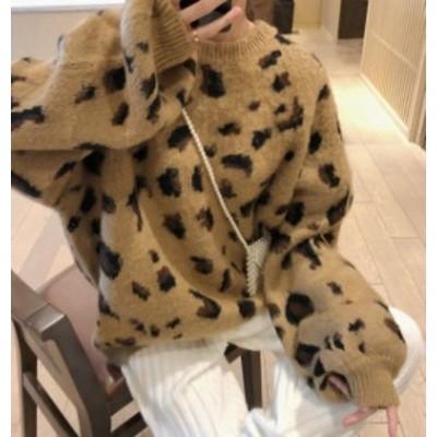 韓国 ファッション レディース トップス ニット セーター レオパード 長袖 ゆったり カジュアル 大人可愛い トレンド 秋冬
