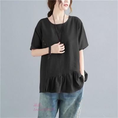 ブラウス シャツ トップス レディース 半袖 無地 20代 ゆったり 体型カバー Tシャツ フ切替 夏 ボタン飾り 大きいサイズ 40代