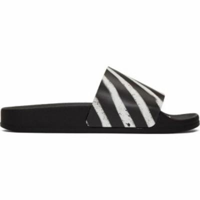 オフホワイト Off-White レディース サンダル・ミュール シューズ・靴 black spray stripes slides Black/White