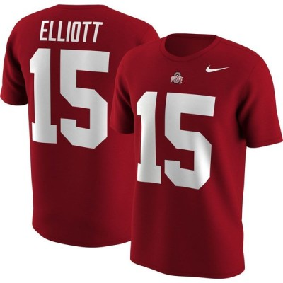 ナイキ Nike メンズ Tシャツ トップス Ohio State Buckeyes Ezekiel Elliott #15 Scarlet Football Jersey T-Shirt