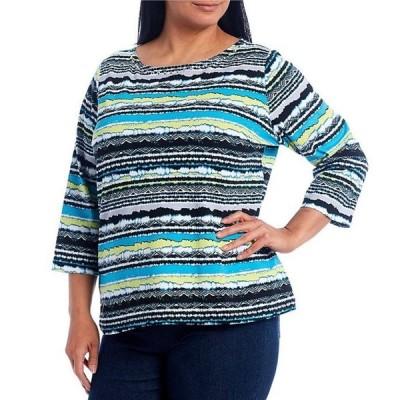 ルビーアールディー レディース Tシャツ トップス Plus Size Striped Embellished Boat Neck 3/4 Sleeve Knit Top