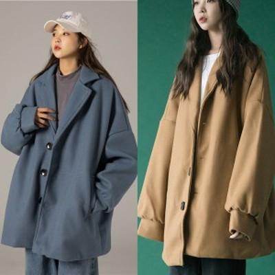 ビッグシルエット 秋冬 アウター ウールコート キルティング シングル ユニセックス Aライン 韓国 ファッション レディース