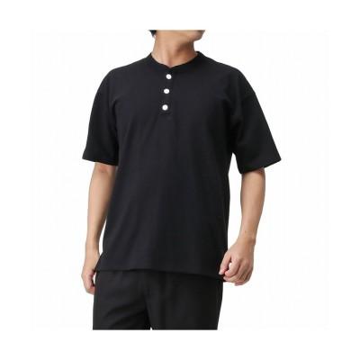【マックハウス】 Goodwear ヘンリーネック半袖Tシャツ 2W7-2522-20SS メンズ ブラック M MAC HOUSE