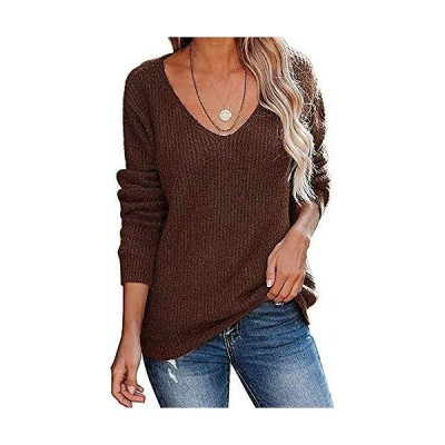 Joupbjw Women's V Neck Sweaters Off Shoulder Long Sleeve Basic Knitted Pull