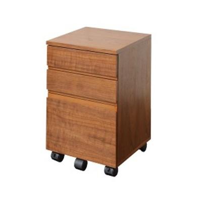 木目調デスクワゴン/サイドチェスト 〔幅34cm〕 木製 ウォールナット A4ファイル収納可 キャスター付き 〔送料無料〕