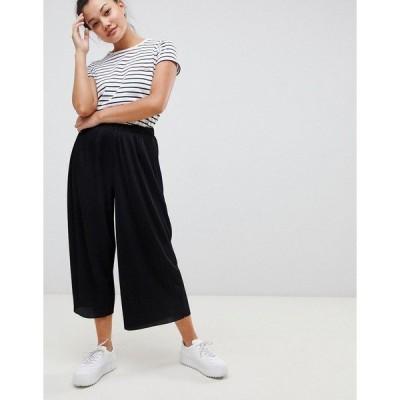 エイソス レディース カジュアルパンツ ボトムス ASOS DESIGN plisse culotte pants Black