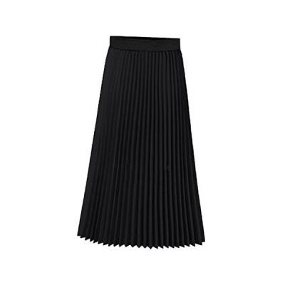[ミニマリ] プリーツスカート ロング丈 無地 シフォンスカート おしゃれ 韓国ファッション ひざ下丈 黒 スカート ブラック L