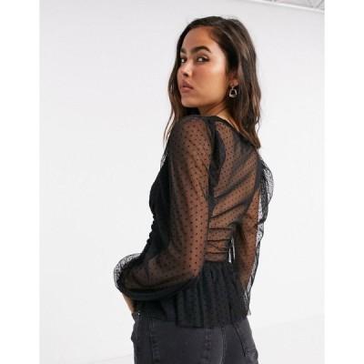 リバーアイランド レディース シャツ トップス River Island dobby mesh peplum blouse in black BLACK