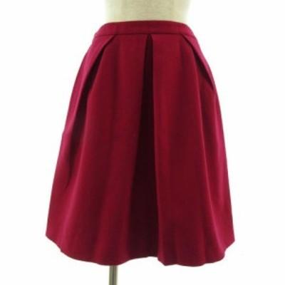 【中古】ノーリーズ Nolley's スカート ひざ丈 フレアー ウール混 ピンク系 マゼンタ系 38 レディース