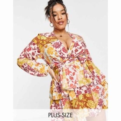 ジョンザック John Zack Plus レディース ワンピース Aライン exclusive plunge front tiered ruffle mini dress in contrast floral マ