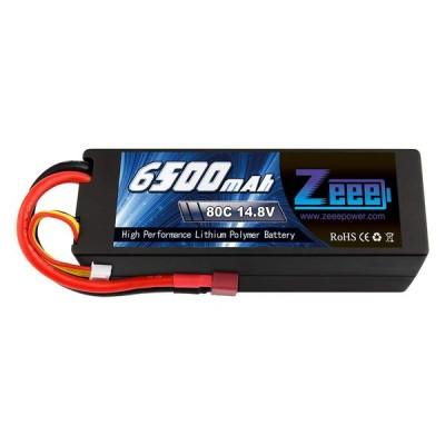 ゼエエ(Zeee)14.8V 6500mAhリポバッテリー 大容量リチウムポリマーバッテリー 80C 4S ハードシェル接続Tプラグ付き 18と110 RCカー用 ラジコン玩具バッテリー