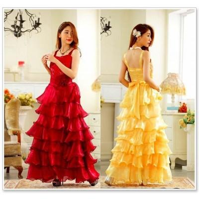 スパンコール 贅沢フリル ロングドレス