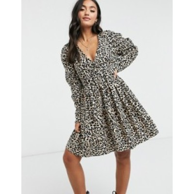 エイソス レディース ワンピース トップス ASOS DESIGN cotton babydoll mini dress in leopard print Leopard print