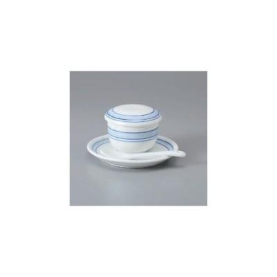 和食器 茶碗蒸し 紺ライン丸型むし碗 & 受皿 蒸し碗 器 美濃焼 日本製