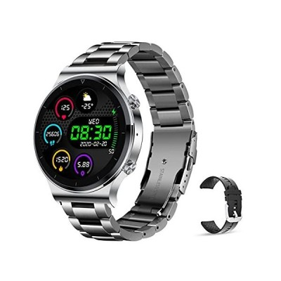 LIGE Mens Smart Watch for iOS Android,1.3 Inch Full Touch Screen Bluetooth Calls Voice Fitness Tracker,with Heart Rate/Sleep Monitor IP67 Wa