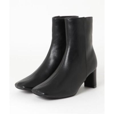 ブーツ minia / ワイドスクエアショートブーツ
