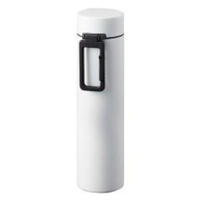 水筒 360ml MOTTERU カラビナハンドル サーモボトル ステンレス ホワイト ( スリムボトル ステンレスボトル 保温 保冷 直飲み マイボトル マグボトル スリムサイズ 直のみ スリム ボトル 軽量 軽い おしゃれ 大人 )