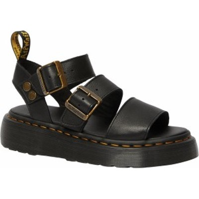ドクターマーチン レディース サンダル シューズ Women's Dr. Martens Gryphon Quad Quarter Strap Sandal Black Pisa Waxy Nappa Leathe