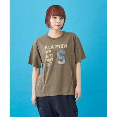 CUBE SUGAR / 天竺 パウダー加工 デニムパッチ プリントTシャツ WOMEN トップス > Tシャツ/カットソー