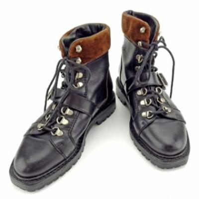 【ラスト1点】 グッチ ブーツ シューズ 靴 ♯34ハーフC ショート トレッキング ブラック×ブラウン×シルバー レザー×スエードGUCCI レ